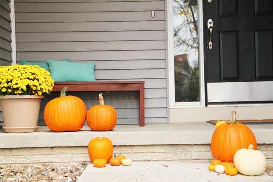 Porch with Pumpkins