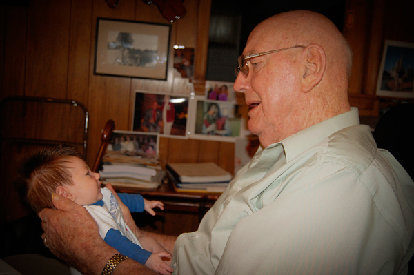 Holding my son, Rex in 2010